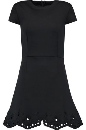 CARVEN Broderie anglaise-paneled jersey mini dress