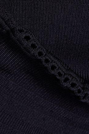 CARVEN Fluted stretch-knit mini dress