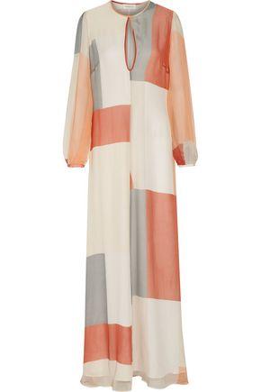 ZIMMERMANN Arcadia Teardrop cutout color-block printed silk-chiffon maxi dress
