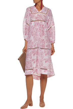 ZIMMERMANN Roza printed cotton and silk-blend broadcloth midi dress