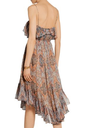 ZIMMERMANN Harlequin Heriz printed crinkled silk-georgette dress