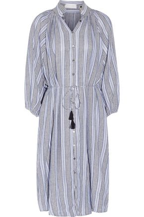 ZIMMERMANN Zephyr embroidered striped cotton and linen-blend midi dress