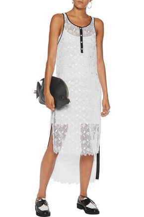THOM BROWNE Henley asymmetric guipure lace dress
