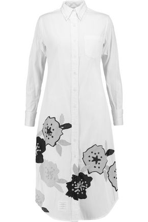 THOM BROWNE Appliquéd textured-cotton shirt dress