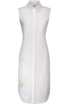 THOM BROWNE Embroidered cotton mini dress