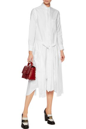 THOM BROWNE Pussy-bow asymmetric cotton-poplin midi dress