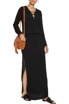 MONROW Lace-up crepe maxi dress