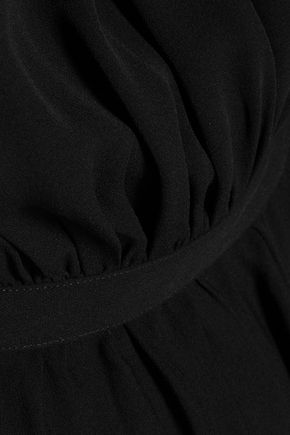 VALENTINO Pleated silk-crepe dress