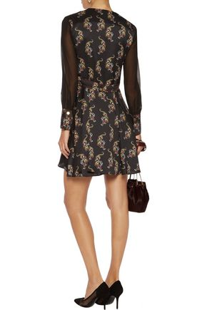 SANDRO Printed satin-twill mini dress