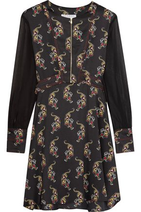 SANDRO Paris Printed satin-twill mini dress
