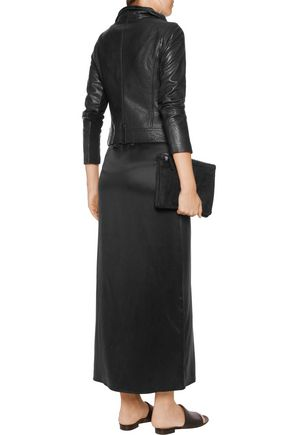 VINCE. Textured-leather biker jacket