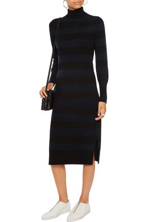 RAG & BONE Careen striped wool and cashmere-blend turtleneck dress