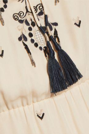 HAUTE HIPPIE Talitha embroidered silk-crepe maxi dress