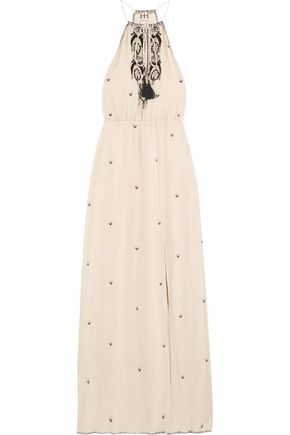 HAUTE HIPPIE Talitha embroidered silk-crepe maxi dress