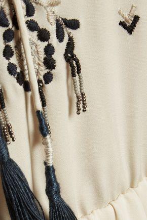 HAUTE HIPPIE Embellished silk-crepe maxi dress