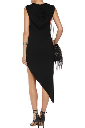 HAUTE HIPPIE Asymmetric stretch modal-blend hooded dress