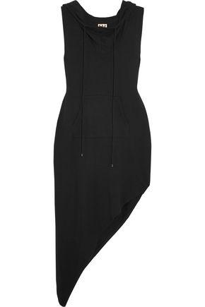 HAUTE HIPPIE Asymmetric stretch modal-blend hooded dress