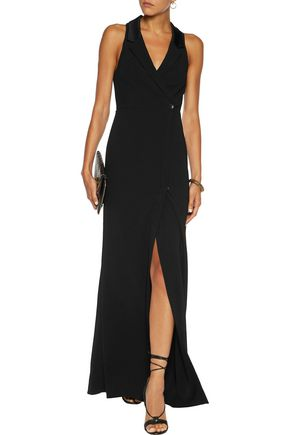 HAUTE HIPPIE Wrap-effect crepe gown