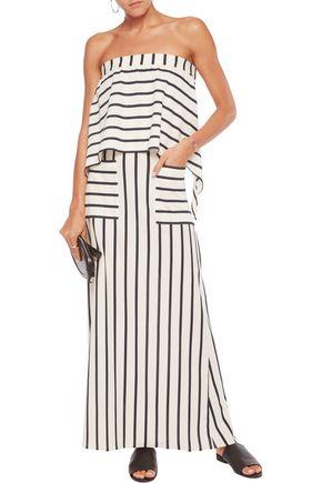 GOEN.J Strapless cutout striped cotton-blend maxi dress