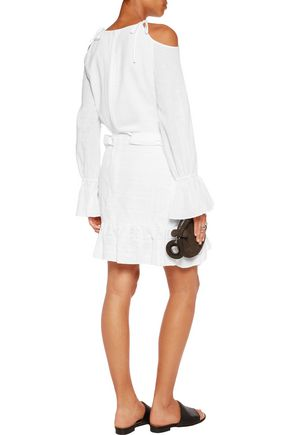 GOEN.J Cold-shoulder cotton wrap-effect mini dress