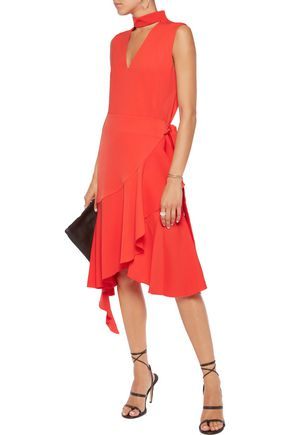 GOEN.J Asymmetric ruffle-trimmed crepe midi dress