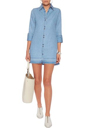 J Brand Woman Bacall Cotton And Linen-Blend Mini Dress Blue