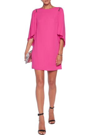 HALSTON HERITAGE Chain-embellished crepe mini dress