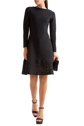 LELA ROSE Laser-cut stretch-knit mini dress
