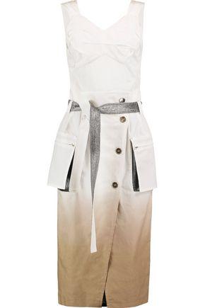 MAISON MARGIELA Layered cutout cotton and linen-blend midi dress