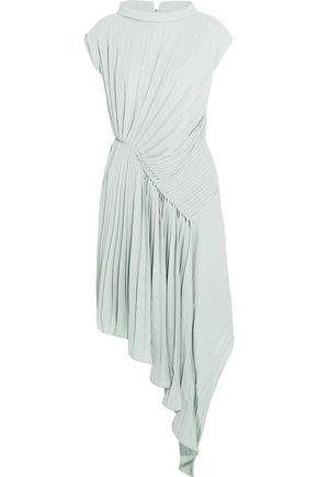 MAISON MARGIELA Asymmetric pleated chiffon midi dress