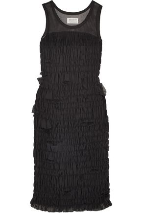 MAISON MARGIELA Mesh-paneled smocked chiffon dress