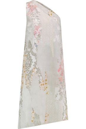 MAISON MARGIELA One-shoulder printed silk-georgette dress