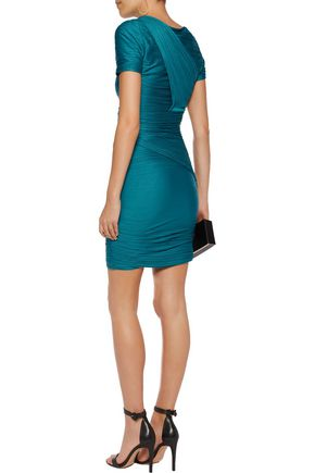 HALSTON HERITAGE Sequin-embellished pleated stretch-jersey mini dress