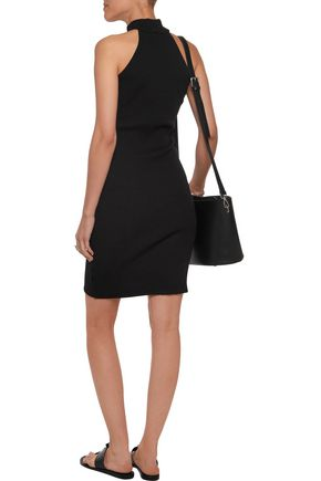 MONROW Turtleneck ribbed cotton-blend mini dress