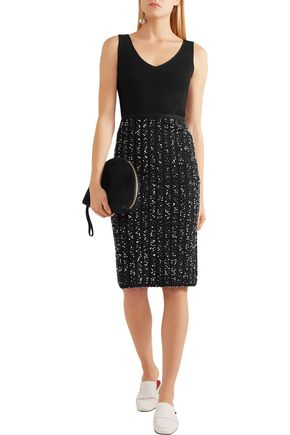 LELA ROSE Ribbed-knit and bouclé-tweed dress