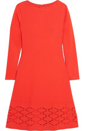LELA ROSE Laser-cut stretch-knit mini dress