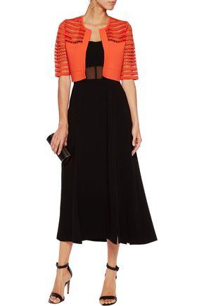 LELA ROSE Cutout-paneled stretch-knit cropped jacket