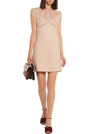 MIU MIU Lace and organza-trimmed cady mini dress