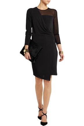 DKNY Mesh-paneled satin-jersey mini dress