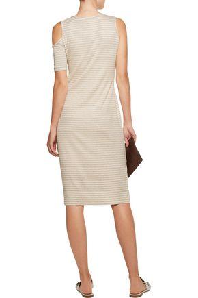 KAIN Mara asymmetric cutout ribbed striped stretch-knit dress