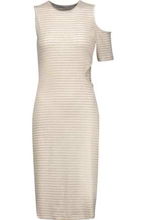 KAIN Mara asymmetric cutout ribbed striped stretch-knit dress