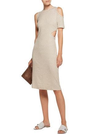 KAIN LABEL Mara asymmetric cutout ribbed striped stretch-knit dress