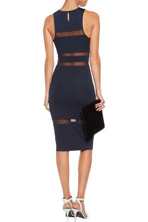 T by ALEXANDER WANG Mesh-paneled stretch-jersey dress