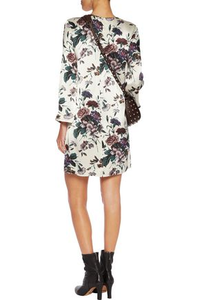GANNI Floral-print crepe-satin mini dress