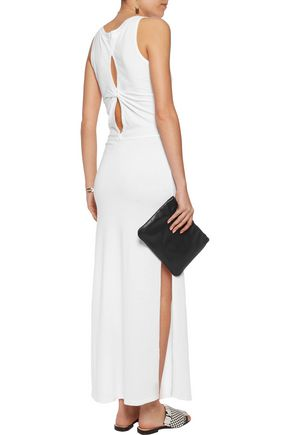 MONROW Knotted cotton-blend stretch-jersey maxi dress
