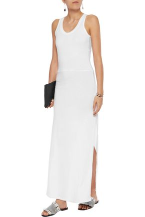 MONROW Knotted cotton-blend stretch-jersey maxi dress