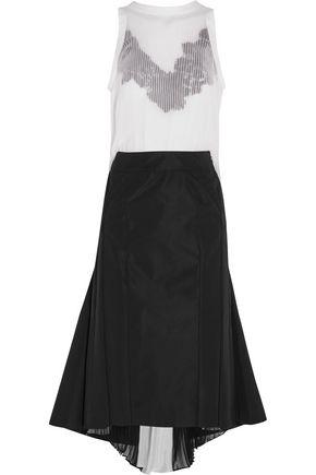 SACAI Guipure lace-trimmed plissé-chiffon and crepe dress