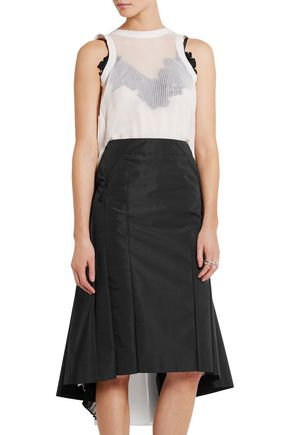 SACAI Guipure lace-trimmed plissé-chiffon and crepe dress