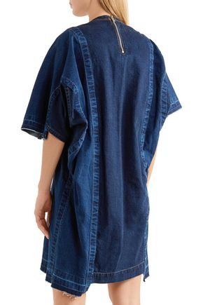 SACAI Asymmetric frayed denim mini dress