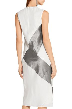 NARCISO RODRIGUEZ Silk-paneled twill dress
